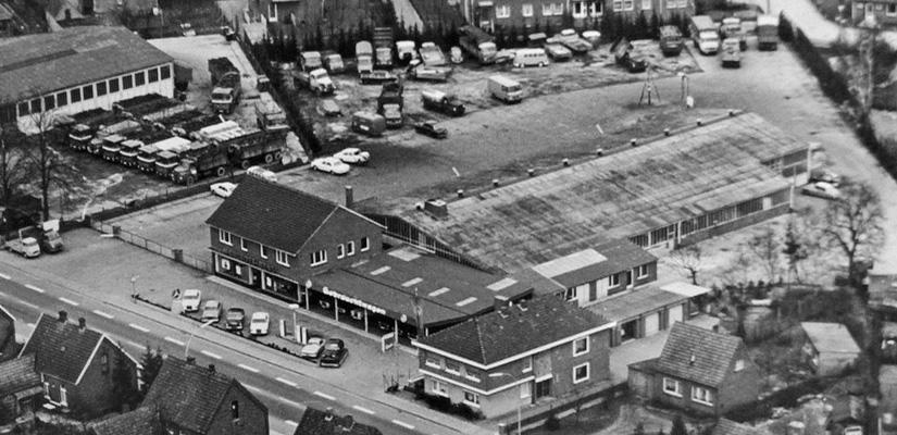 Aerial view of the old offices and workshop on Waldstraße in Lingen
